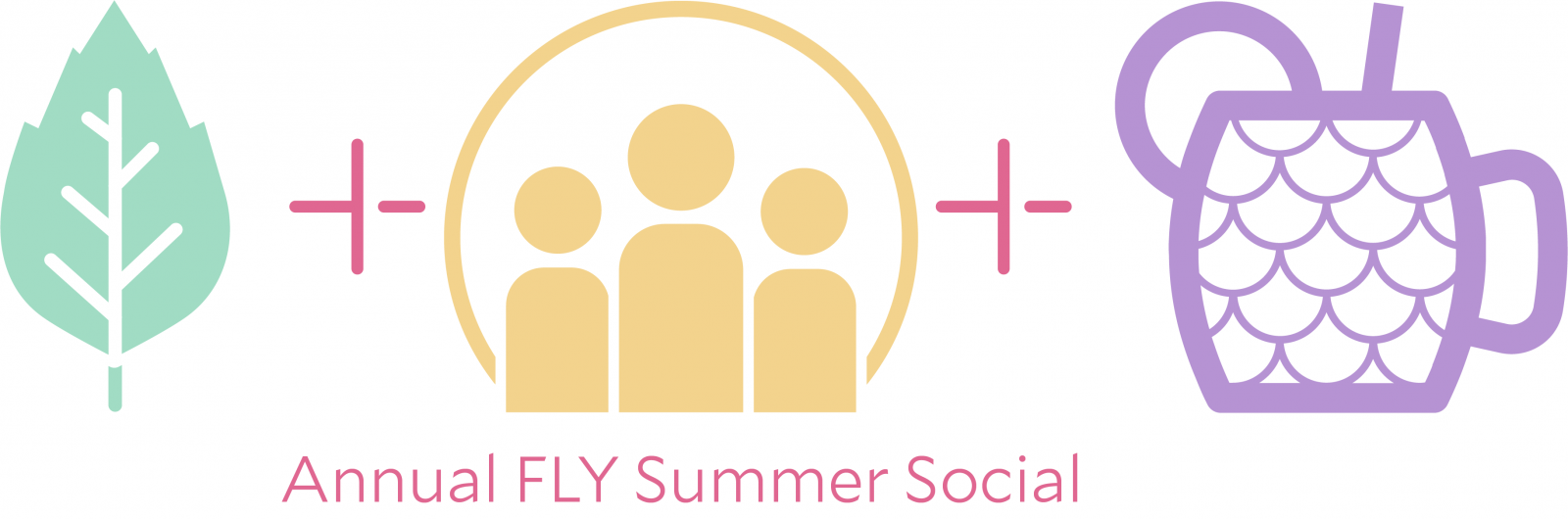 """Annual FLY Summer Social"" logo with three icons: 1) Elm Leaf, 2) A group of three people, 3) a Drink with a straw"